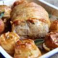 Rôti de porc aux pommes et cidre