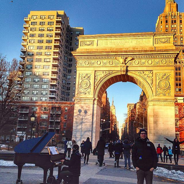 Playing piano at Washington Square Park - New York