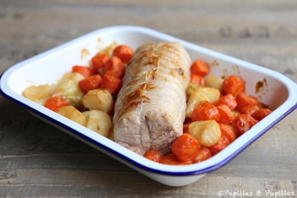 Filet mignon de veau, carottes et navets