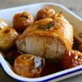 Rôti de porc aux pommes, au chorizo et au Porto