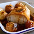 Rôti de porc, pommes, chorizo et Porto