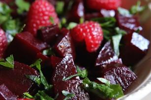 Salade de betteraves, framboises et persil