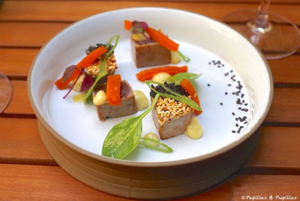 Tataki de thon, carottes confites