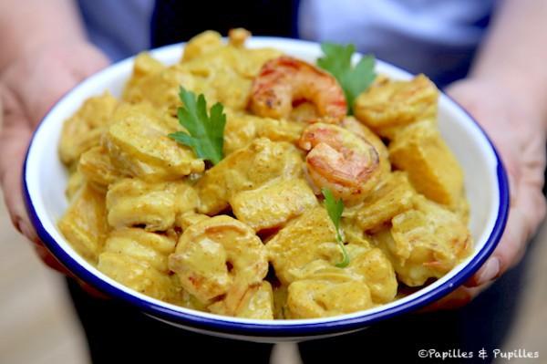 Crevettes au curry et ananas