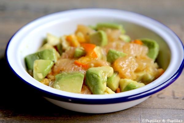 Salade d'avocats pamplemousses et kumquats