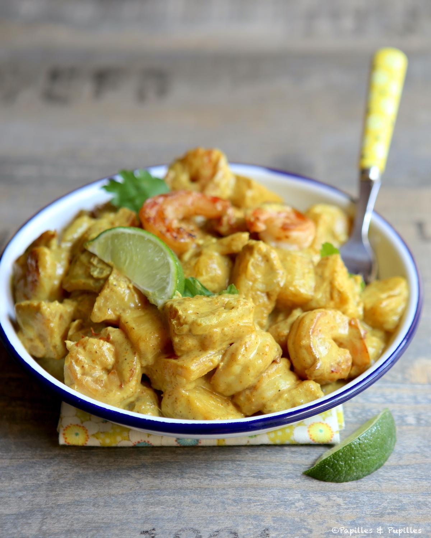Crevettes ananas curry