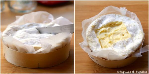 Fendez légèrement le Camembert et enlevez une partie de la croute
