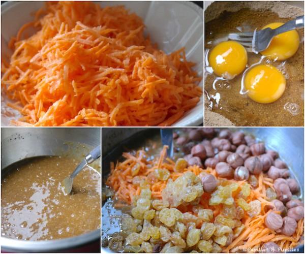 Préparation du gâteau aux carottes
