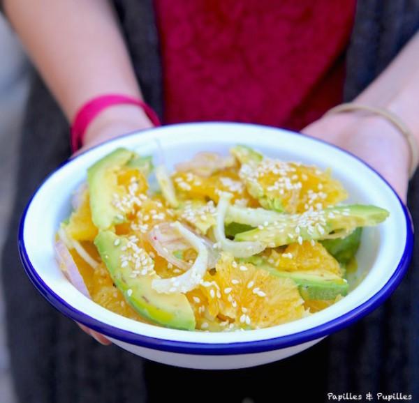 Salade d'avocat, orange et fenouil au sésame