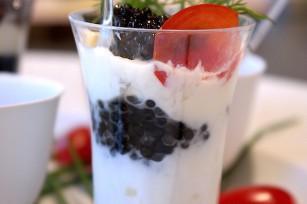 Verrine crème fraiche caviar burrata
