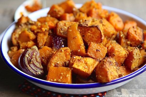 Butternut, patates douces oignon rouge dukkah