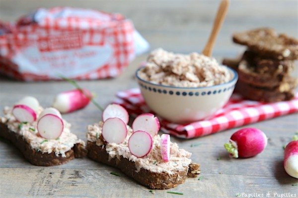 Tartines petits radis, rillettes de thon