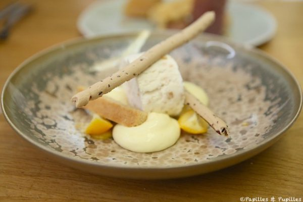 Le citron bergamote de deux manières – Confit dans un nougat glacé et un peu comme une tarte meringuée