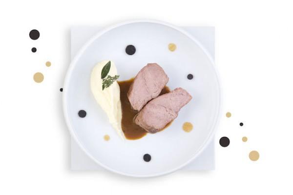 Jarret de veau cuit longuement au jus et truffonade, pomme purée