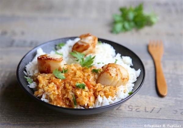 Saint jacques r ties et riz au lait de coco curry et citronnelle - Saint jacques au curry ...