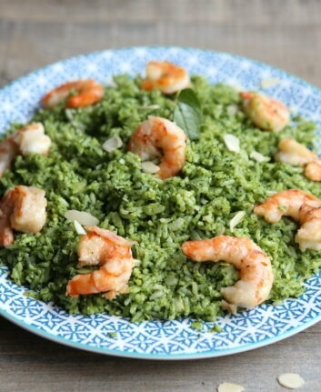 Riz aux crevettes grillées et pesto d'épinards