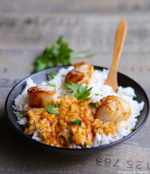 Saint jacques r ties et riz au lait de coco curry et - Saint jacques au curry ...