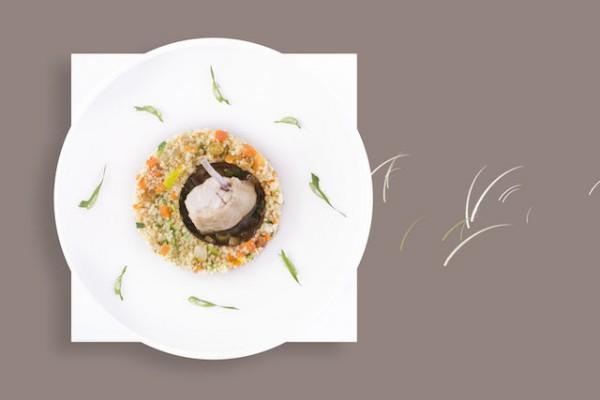 Tajine de poulet et semoule aux petits légumes, citron de Menton confit et coriandre thaïe
