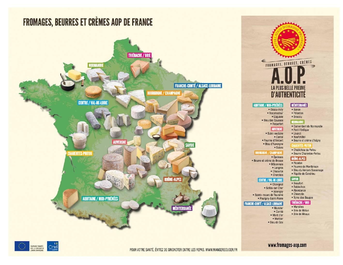 Fromages cremes et beurre AOP de France