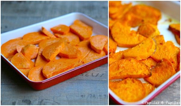 Patates douces avant et après cuisson