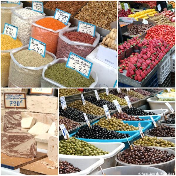 Graines, fraises, Halva, olives - Marché Athènes