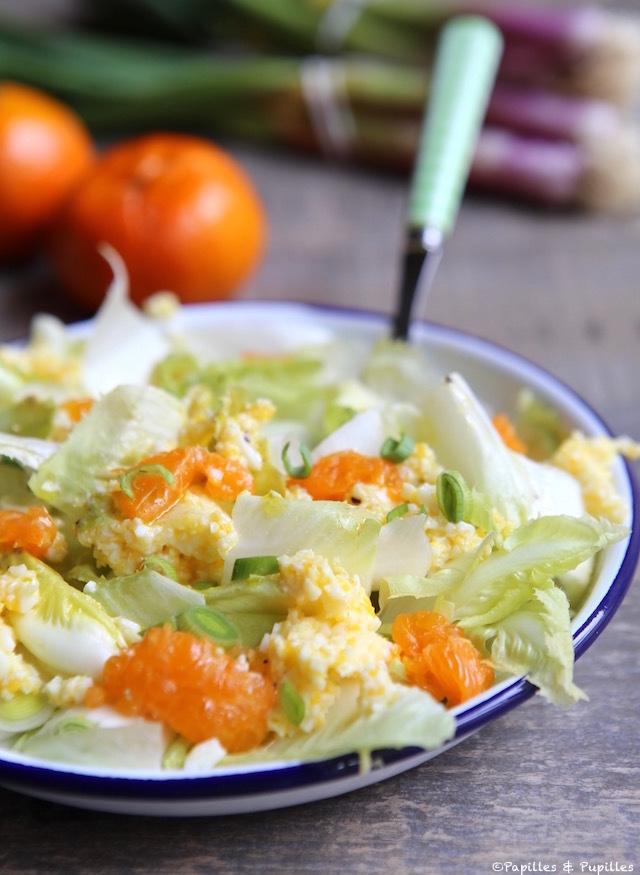 Salade d'endives, oeuf mimosa et clémentine