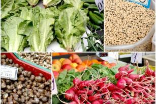 Salade verte, haricots yeux noirs, escargots et radis - Marché Athènes