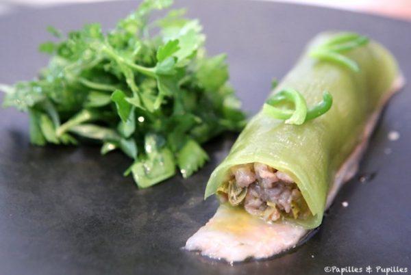 Cannelloni de concombre farci de tartare de veau, carpaccio de langoustines (carte)