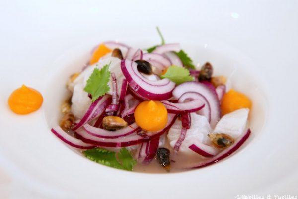 Ceviche minute comme à Lima, piment rocoto, patate douce et cancha grillé
