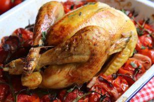Poulet aux tomates, lardon, estragon