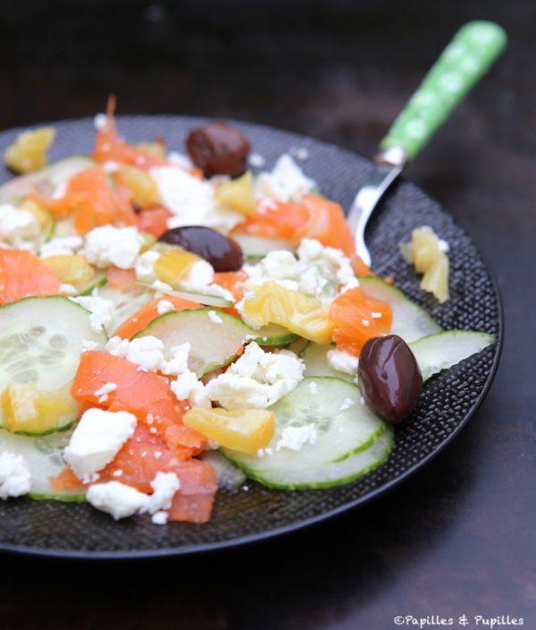Salade concombre saumon fumé citron olives