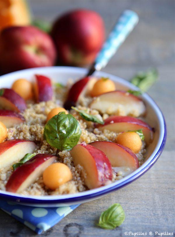 Salade de quinoa nectarine basilic melon