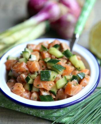 Tartare de saumon frais et concombre