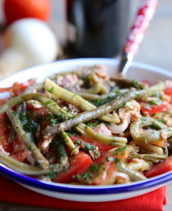 Salade haricots verts thon oignon tomate