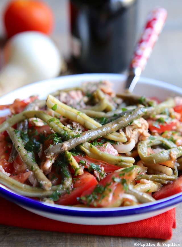 Salade haricots verts thon oignon tomate