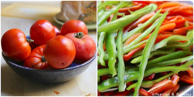 Tomates et lanières de poivrons