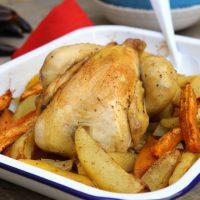 Poulet rôti aux 2 pommes de terre et épices douces