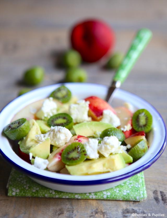 Salade nectarine avocat kiwai feta