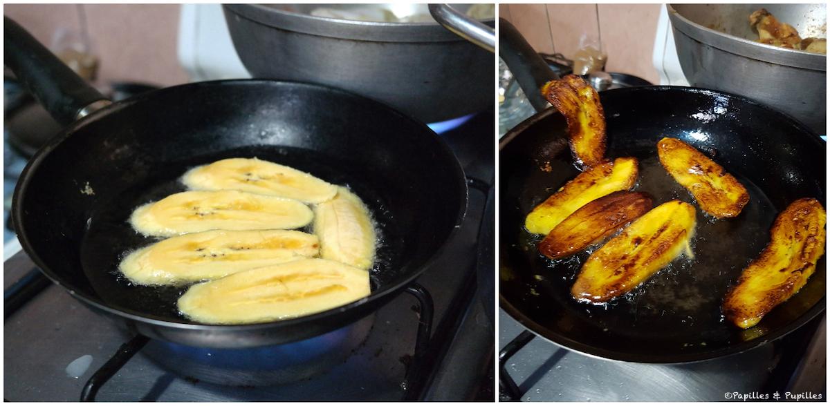 Bananes plantain frites en cours de cuisson
