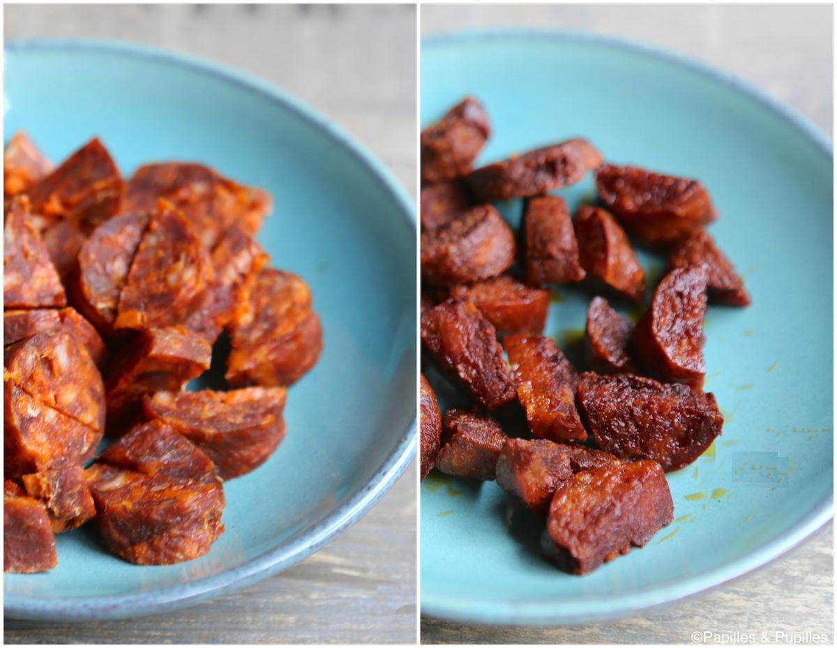 Chorizo avant et après cuisson