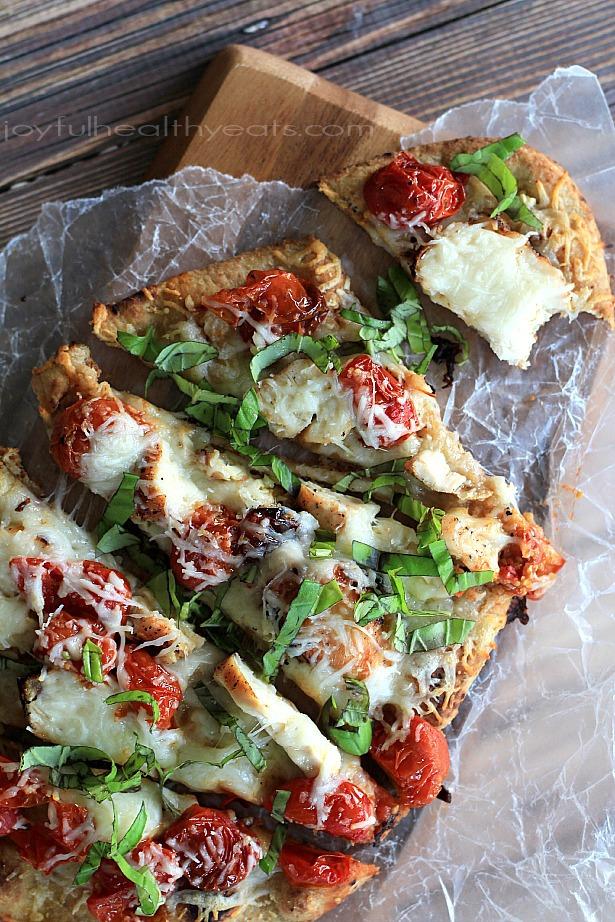 Pizza naan margherita au poulet