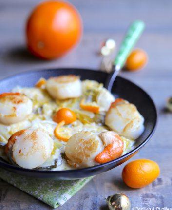 Saint Jacques, fondue de poireaux et kumquats