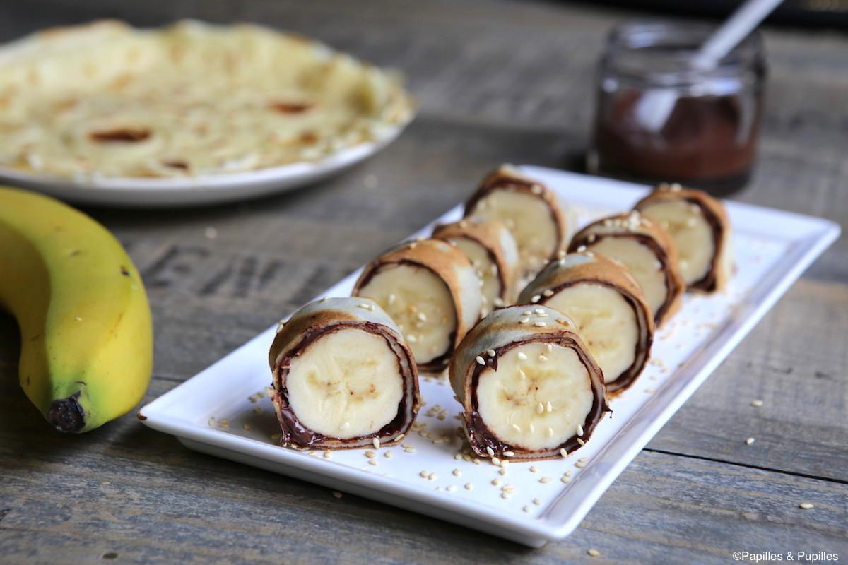 Makis de crêpes banane chocolat