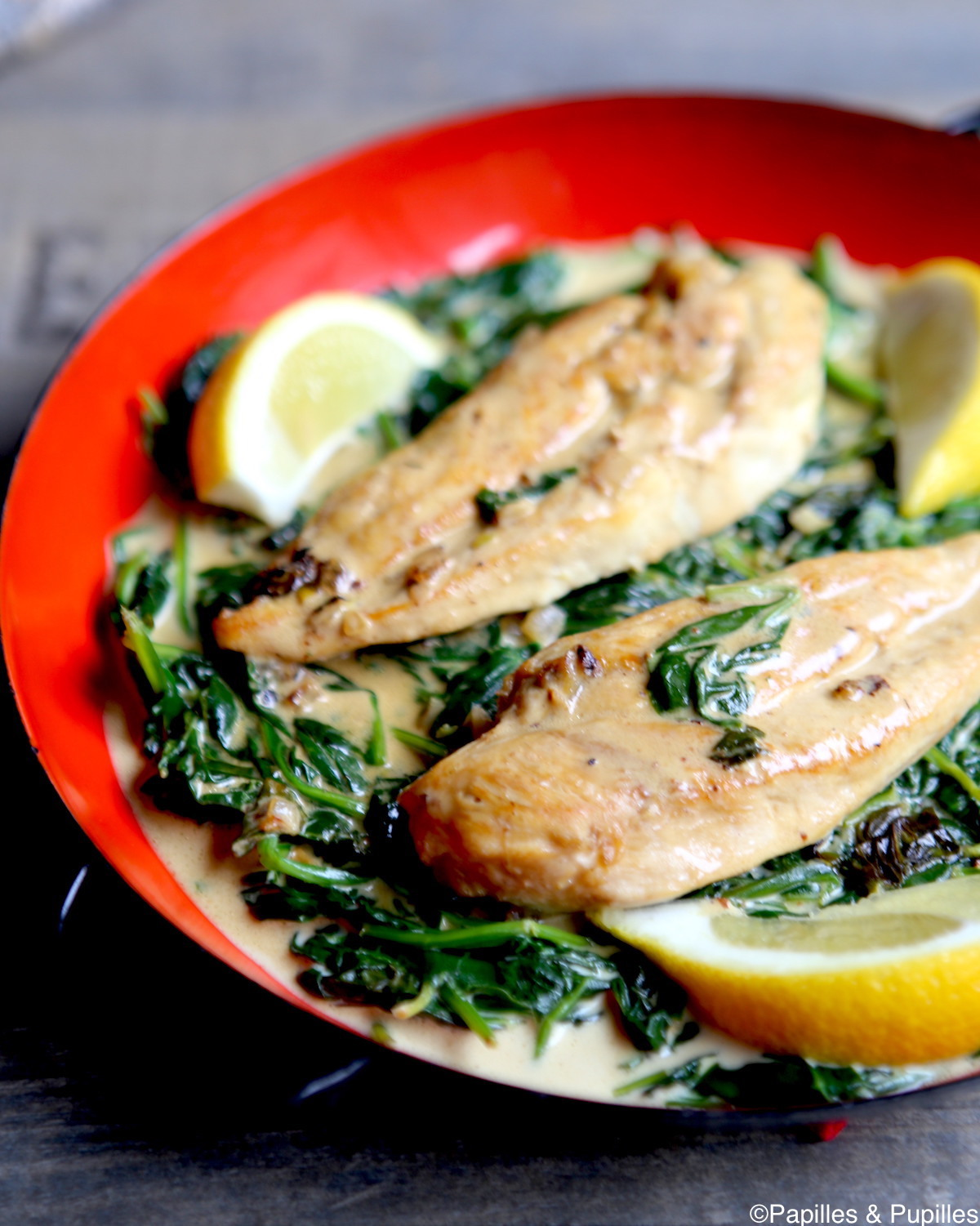 Escalopes de poulet au citron ail et pinards - Cuisiner des escalopes de poulet ...