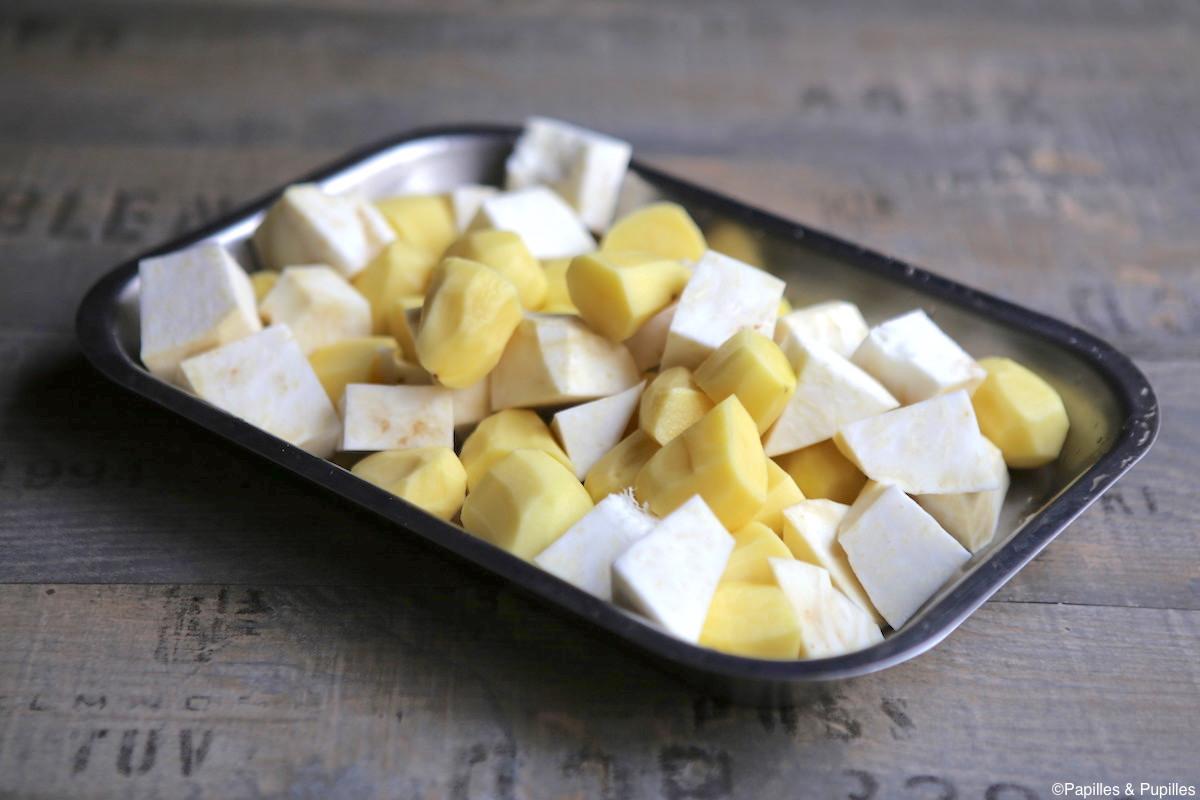Cubes de pommes de terre et céleri rave