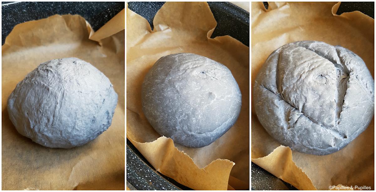 Pain au charbon végétal - Avant et après première levée et après coup de lame