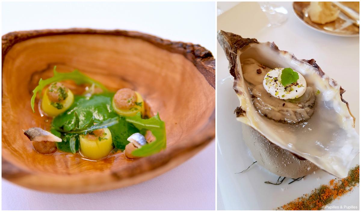 amuse bouche, à base de roquette, anchois et pommes de terre Amandine et d'une huître charnue, gelée d'eau de mer et meringue acidulée au citron caviar
