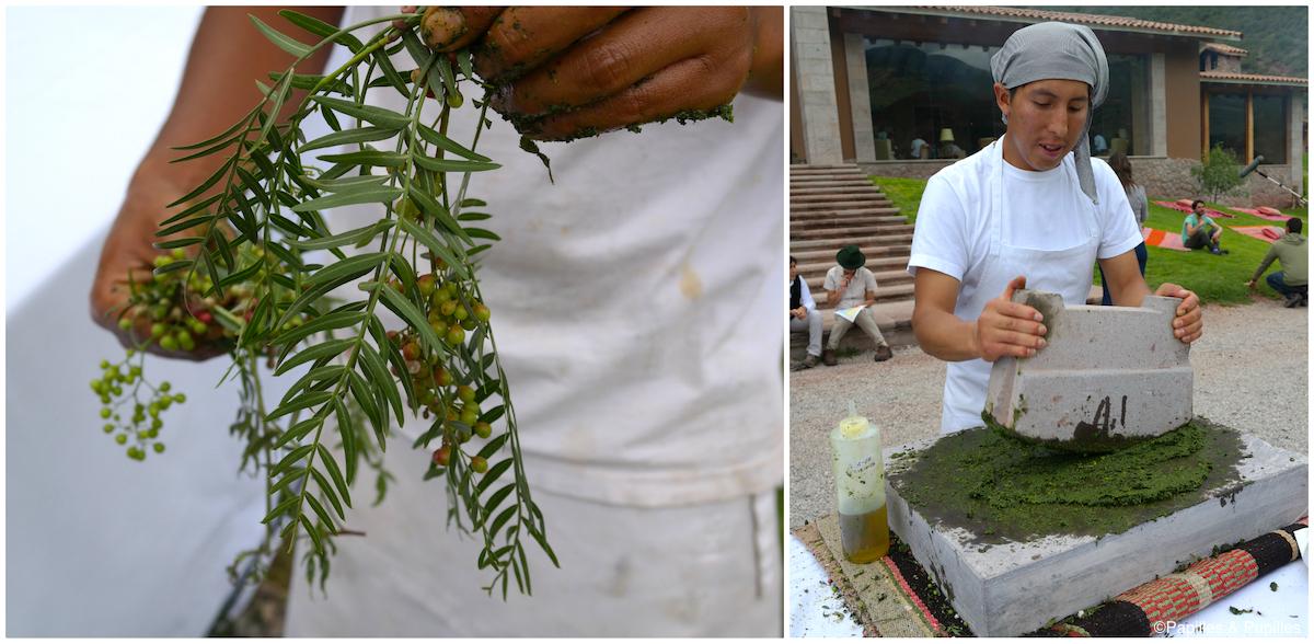 Préparation de la sauce hucatay - Urubamba