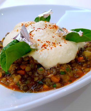 Salade de lentilles et pois chiche, vinaigrette harira