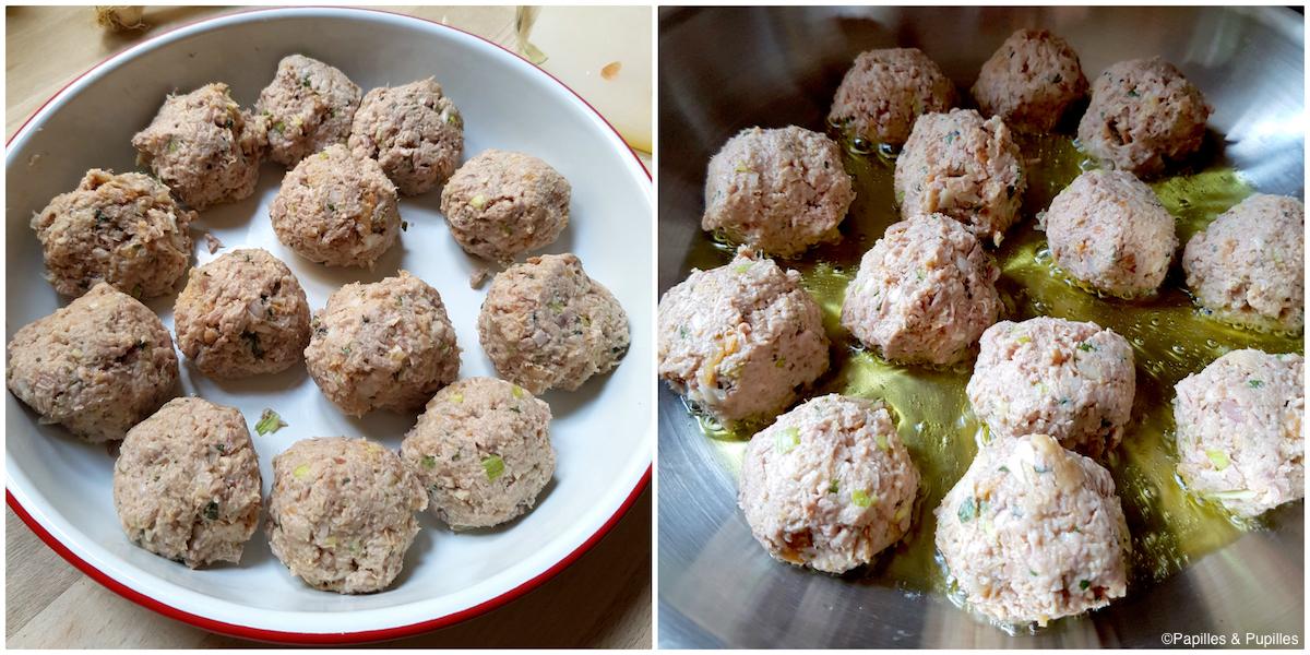 Boulettes avant et après cuisson
